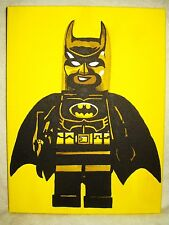 Canvas Painting Superhero Lego Batman Yellow Art 16x12 inch Acrylic