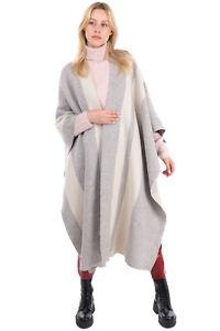 RRP €995 JOSEPH Open Front Poncho One Size Wool Blend Striped Jacquard Knit