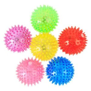6PC Light up Spike balls Fetching Toys Flashing Lights Squeaker Pets Dogs Play