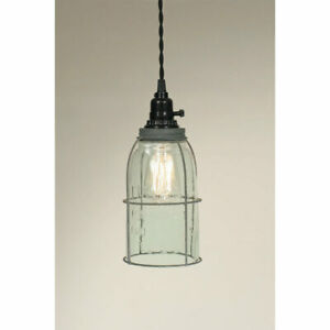Mason Jar caged Hanging Light with Barn Roof tin - Plug In