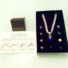New Joan Rivers 10 Color Interchangeable Bead Pendant Silver Tone Necklace