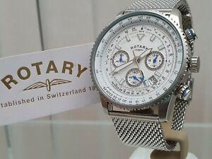 NEW Rotary Mens Watch MESH self adjust bracelet Chronograph, RRP£250 Boxed.