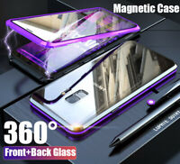 For Samsung Galaxy S8 S9 S10 Note10 Plus Magnetic Adsorption Tempered Glass Case