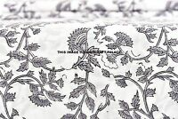 2.5 Yard Indian Hand Block Printed Fabric Running Loose Cotton Floral Fabric