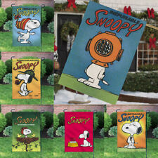 Decor Lovely Snoopy Dog Sign Outdoor Linen Banner/Flag Double Sided Garden Flags