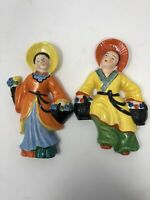Yamaka Made in Occupied Japan Vintage Wall Hanging Decoration Asian Theme 2 Set