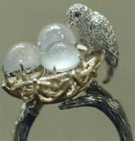 Vintage 925 Silver Moonstone Bird Ring Men Women Wedding Gift Jewelry Size 6-10