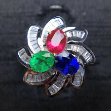 1.56TCW Natural Emerald Sapphire Ruby Diamond Engagement Ring 14K White Gold