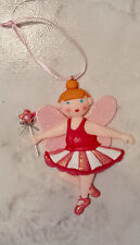 Pink And Red Glitter Ballerina Fairy Princess Christmas Ornament Decoration