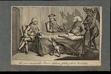 Peace Makers Settle Colonial Accounts Demon Devil c.1780 antique political print