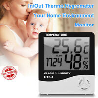 Indoor Home Thermometer Digital LCD Hygrometer Temperature Humidity Meter Clock