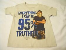 Boys Tee Shirt Sz XS 4/5 Duck Dynasty Ice Gray Everything I Say is 100% Truthful
