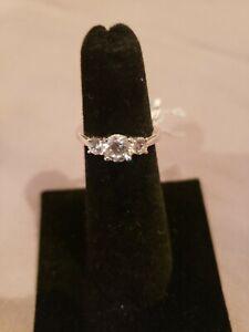 Platinum-Plated Sterling Silver Round 3-Stone Ring With Swarovski Zirconia...