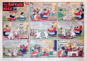 Captain & the Kids by Dirks - large half-page color Sunday comic - Jan. 2, 1949