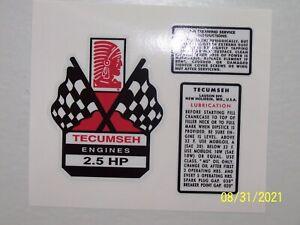 Tecumseh 3 Piece Decal Set 2.5hp - 3hp - 3.5 - 4hp - 4.5hp - 5hp -6hp - 10hp!