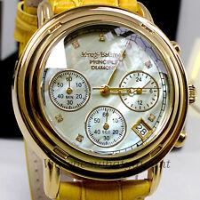 Krug Baumen Principle Diamond Men's Gold Chronograph MOP Watch Leather New £790