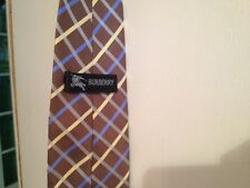 Burberry London Brown Blue Yellow Silver Plaid 100% Silk Neck Tie