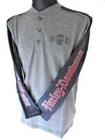 Harley Davidson Skull Stripe Henley Shirt Pullover Longshirt 96617-14VM
