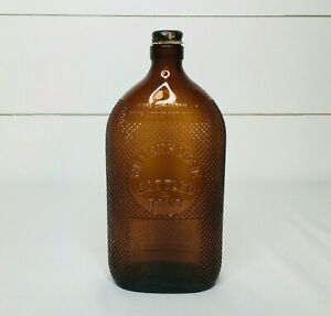 Vintage 1940s Brown Rittenhouse Empty Alcohol Bottle