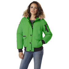 Canada Weather Gear Womens Heavyweight Hood Bomber Jacket Green 3XL #NJHSP-686