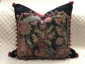 DRAMATIC ABSTRACT ANTIQUE NEEDLEPOINT TAPESTRY PILLOW WOOLWORK, SAMPLER 24X24 #1