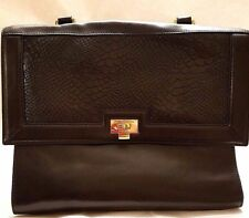 bd72e1562cd6 H by Halston Smooth Leather Satchel with Reptile Embossed Flap Black