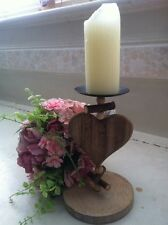6 x  Job Lot WEDDING 12cm x 20cm Wood Heart Candlestick CENTREPIECE Valentines