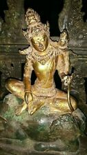 ANCIENT JAVANESE BRONZE SHIVA STATUE, 24K GOLD