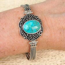 BR111 Bracelet  souple Ethnique Argent Massif avec Turquoise