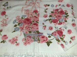 Vtg Fieldcrest Pink Basket Floral Set 3pc 1 Bath Towel 2 Washcloth NEW