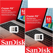 SanDisk 64GB x 2 = 128GB Cruzer FIT USB Flash Mini Pen Drive SDCZ33-064G-G35 2PK