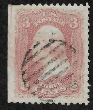 65 (1861) Washington 3 cent, rose - Used -  EFO: w/guide line - VF
