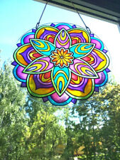 "Suncatcher Stained Glass Mandala art 9x9"" Glass art Window hangings Yoga Gift"