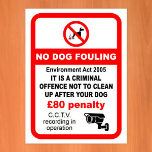 Environment Act 2005 £80 penalty Dog fouling Weatherproof sticker or sign 9649