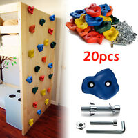 20 PCS Textured Climbing Holds Rock Wall and 40 PCS 8mm zinc plated Bolts & Nuts