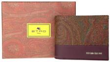 NEW ETRO MEN'S PAISLEY COATED CANVAS MAROON LEATHER CC HOLDER BIFOLD WALLET