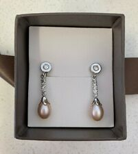 Pink Freshwater Pearl Drop Earrings 9K White Gold Simulated Diamonds