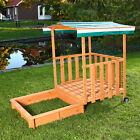 Sandkasten Spielhaus mit Spielveranda Sandbox Sandkiste Holz Dach Deckel