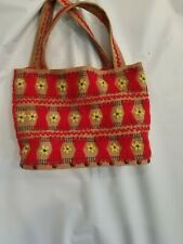 Vintage Burlap Yarn Handmade Handbag/Purse Wooden Bottom Boho Hippie