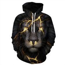 Unisex 3D Printed Wolf Pullover Long Sleeve Hooded Sweatshirt Tops Blouse Black