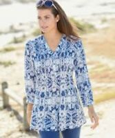 Damart Printed Tunic Royal Blue Size UK 12 LF085 CC 02