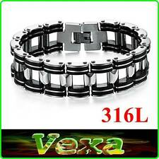 New 316L Stainless Steel & Silicone Mens Bracelet Motorbike Chain Wristband BR16
