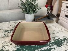 """New listing Pampered Chef Family Heritage Square Casserole Dish Stone Cranberry Red 10"""" 7092"""
