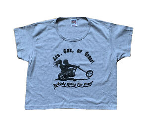 Vintage Anvil Cropped T-shirt Classic Harley Davidson Print Chopper Easyriders
