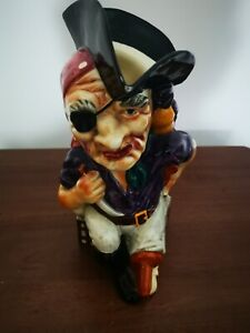 """Vintage Long John Silver Toby Jug Pitcher Hand Painted Shorter & Sons 10"""""""