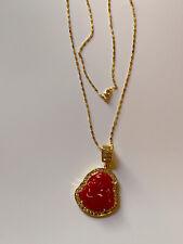 Gold Plate JADE Pendant Buddha God Necklace Diamond Imitation.