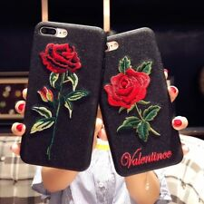 TPU Bling Glitter Romantic Rose Flower Embroidery Case For iPhone X 6s 7 8 Plus
