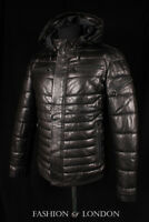 Men ICEBERG PUFFER Quilted Leather Jacket Black Italian Lambskin Leather Jacket