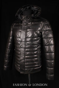 Men ICEBERG PUFFER Quilted Leather Jacket Black Italian Lambskin Leather Jacket