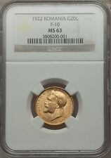 Romania 1922 20Lei NGC MS63 very rare gold coin